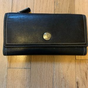 Coach black leather wallet with pink interior EUC